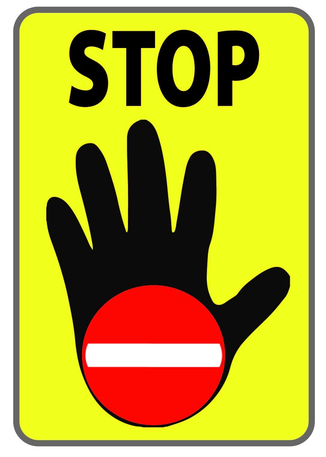 Panneau spécial Sens Interdit avec main ouverte