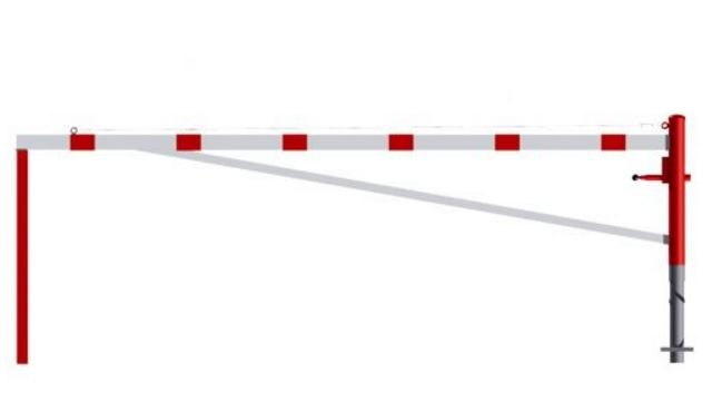 Barrière pivotante avec poteau d'arrêt